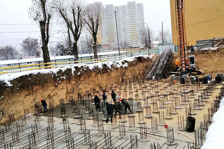 Олимпия Билд: укрепление фундаментов буроинъекционными сваями в Киеве